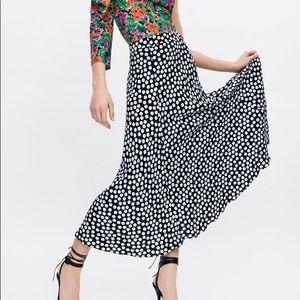 Zara Black Polka Dot Maxi Skirt